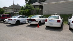 Passing Shot of Memphis Police Patrol Car Lot - stock footage