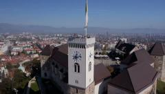 Aerial - Ljubljana Castle and the cityscape of the town Stock Footage