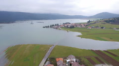 Aerial - Huge environmental damage by flooding - stock footage