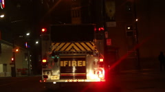 Firetruck at Night Stock Footage