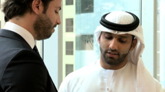 American Arabic business male beard suit conference convention meeting travel - stock footage