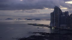 Panama City Trump Ocean Club Skyscraper Near Sea 4K - stock footage