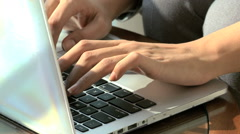 Western Caucasian woman business insurance growth commodity laptop computer - stock footage