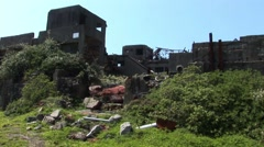 Stock Video Footage of Battleship island Japan ruins
