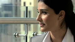 Hispanic smart business woman building real estate property investment coffee Stock Footage