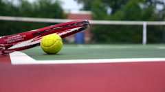 Tennis Racket with Balls on Court. Slow Motion. Stock Footage