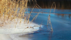 River bank. ice and water. timelapse. Stock Footage