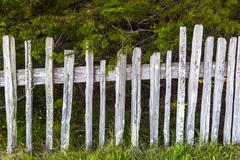 historic fence at fort ross state historic park - stock photo