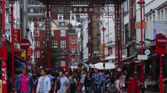 Chinatown London street scene Stock Footage