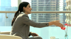 Handshake male Western Hispanic female business city building insurance growth Stock Footage