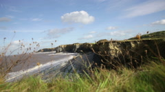 Cliffs with grass, beach, sea and elderly walker in distance Stock Footage