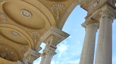 WIEN SCHONBRUNN PALACE PARK GARDEN GLORIETTE BUILDING MS 5 CEILING COLUMNS DECOR - stock footage