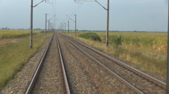 POV Point of view train pass countryside plane field sunny day landscape railway Stock Footage