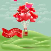 Heart-shaped hot air balloon taking off. EPS 10 Stock Illustration