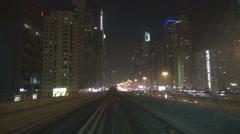 POV Point of view Burj Khalifa skyscraper Dubai building modern tower metro trip Stock Footage