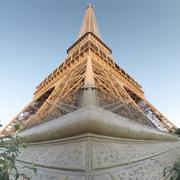 France, Paris, Low angle view of Eiffel Tower Stock Photos