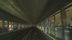 POV Point of view Dubai Arrival metro train station busy platform people travel  Stock Footage