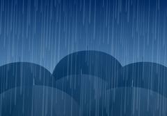 Vector umbrellas and rain drops Stock Illustration
