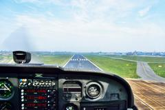 Holland, View of cockpit of airplane landing Stock Photos