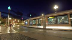 Night traffic at Nice street, France Stock Footage
