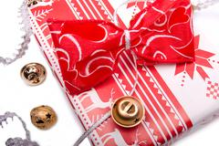 wrapped gift box - stock photo