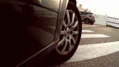 Car Mounted Camera, Car Leaving Parking - stock footage