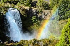Parque Nacional Conguillio, Rainbow above waterfall Stock Photos