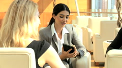 Western male female international business traveller finance technology tablet - stock footage