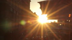 Hand Held Winter Sun Outdoors Lens Flare In London City Beautiful Light Natural Stock Footage
