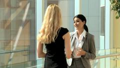Handshake business female Eastern European conference convention meeting travel Stock Footage