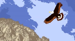 Lovely eagle soars in the sky over the mountain, animation, cartoon Stock Footage