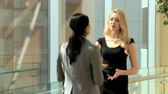 handshake female Russian Spanish city business real estate property development - stock footage