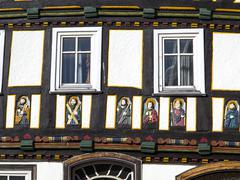 apostel half timbered house in fairy tale town of steinau - stock photo