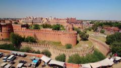 High angle view of Junagarh Fort, Bikaner, Rajasthan, India - panning shot Stock Footage