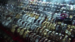 Fake Watches in asian market place Stock Footage
