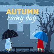 Girl and boy with umbrella in a autumn raining day background co - stock illustration