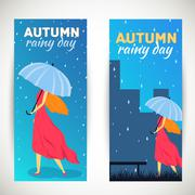 Girl with umbrella in a autumn raining beautiful day vertical ba Piirros