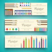 flat art painter workshop with paint supplies equipment tools ba - stock illustration