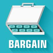 Flat flip-flop bargain money case concept. vector illustration d Stock Illustration