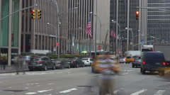 Timelapse fast motion yellow taxi crowded avenue New York City Manhattan day USA Stock Footage