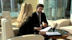 Western Russian international business travel finance banking laptop technology - stock footage