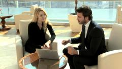 Arabic Eastern European male female business laptop technology stocks shares - stock footage