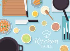 Stock Illustration of flat kitchen table for cooking in house vector illustration desi