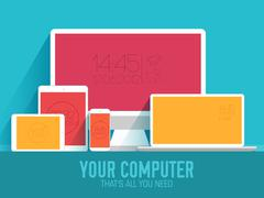 mobile electronic devices on flat style concept background. Vect - stock illustration
