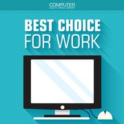 Stock Illustration of Flat computer on the background with the slogan. Vector illustra