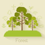 Flat design of ecology, environment, green clean energy and poll Stock Illustration