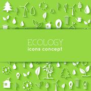 Flat design of ecology, environment, green clean energy and poll - stock illustration