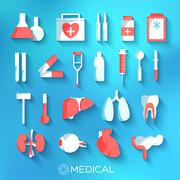 Flat medicine equipment set icon concept on blurred background. Stock Illustration