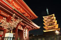 gate and pagod of senso-ji temple at night, asakusa, tokyo, japan - stock photo