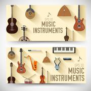 flat music instruments banners concept. Vector illustrator desig - stock illustration